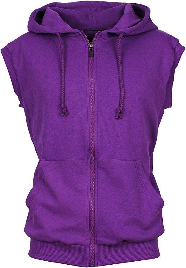 50e9fe8869088 Angel Cola Men s Sleeveless Hoodie Zip Up Cotton Vest Purple XS ...