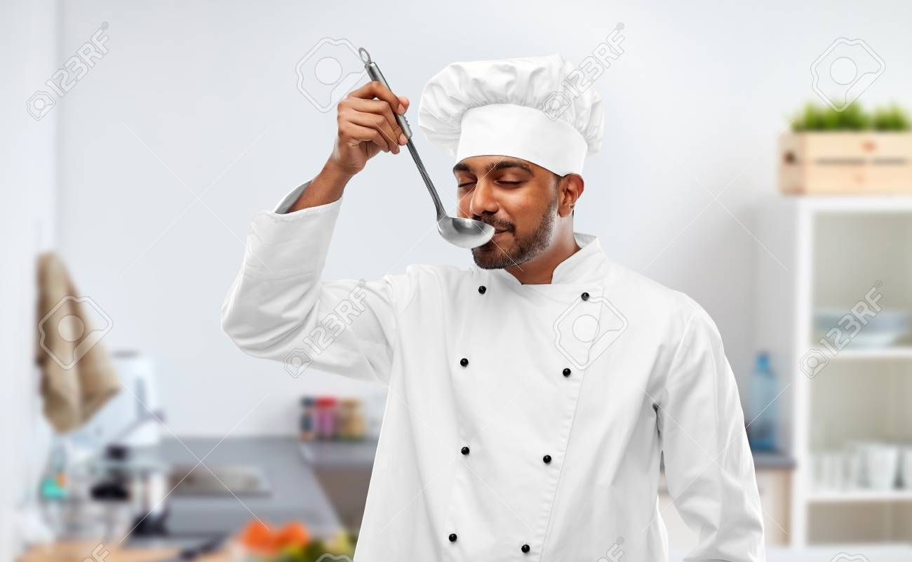 indian chef tasting food from ladle at kitchen Stock Photo , #Ad, #tasting, #food, #indian, #chef, #Stock