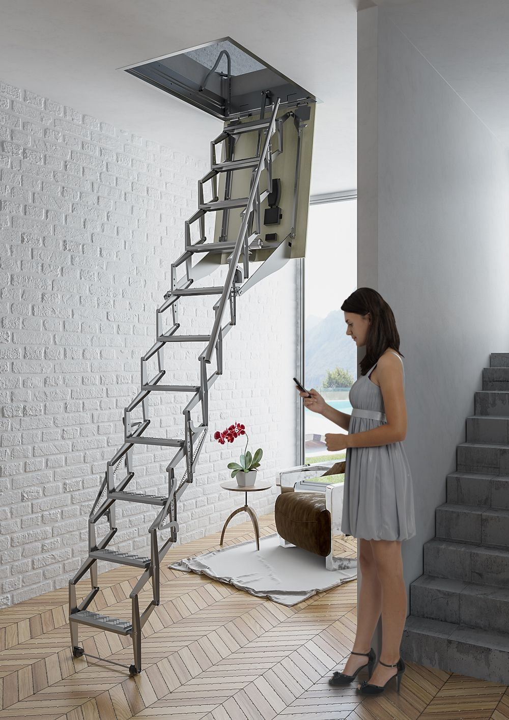 Escalera plegable y escamoteable autom tica para techo for Escaleras altas plegables