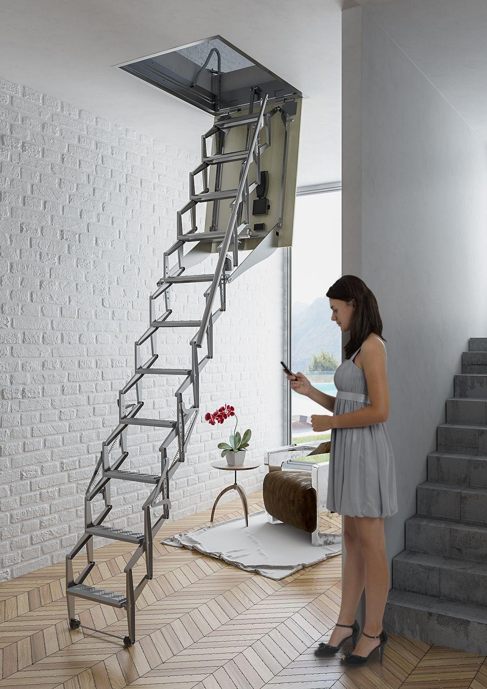 Escalera plegable y escamoteable autom tica para techo - Escaleras para buhardillas plegables ...