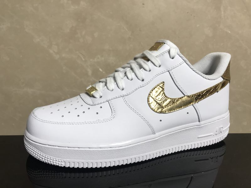 sports shoes 37003 19f0c Nike Air Force 1 Low CR7 Limited White Golden Shoes