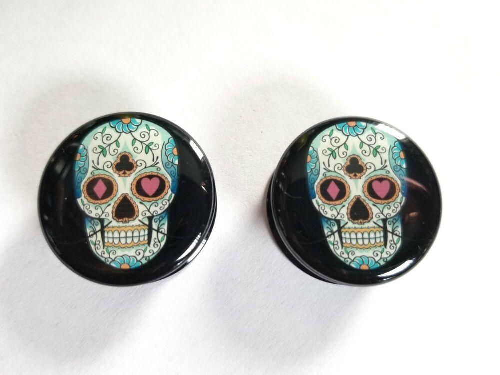 Pair of Black Acrylic Screw-fit Plugs with Sugar Skull Logo U CHOOSE GAUGE
