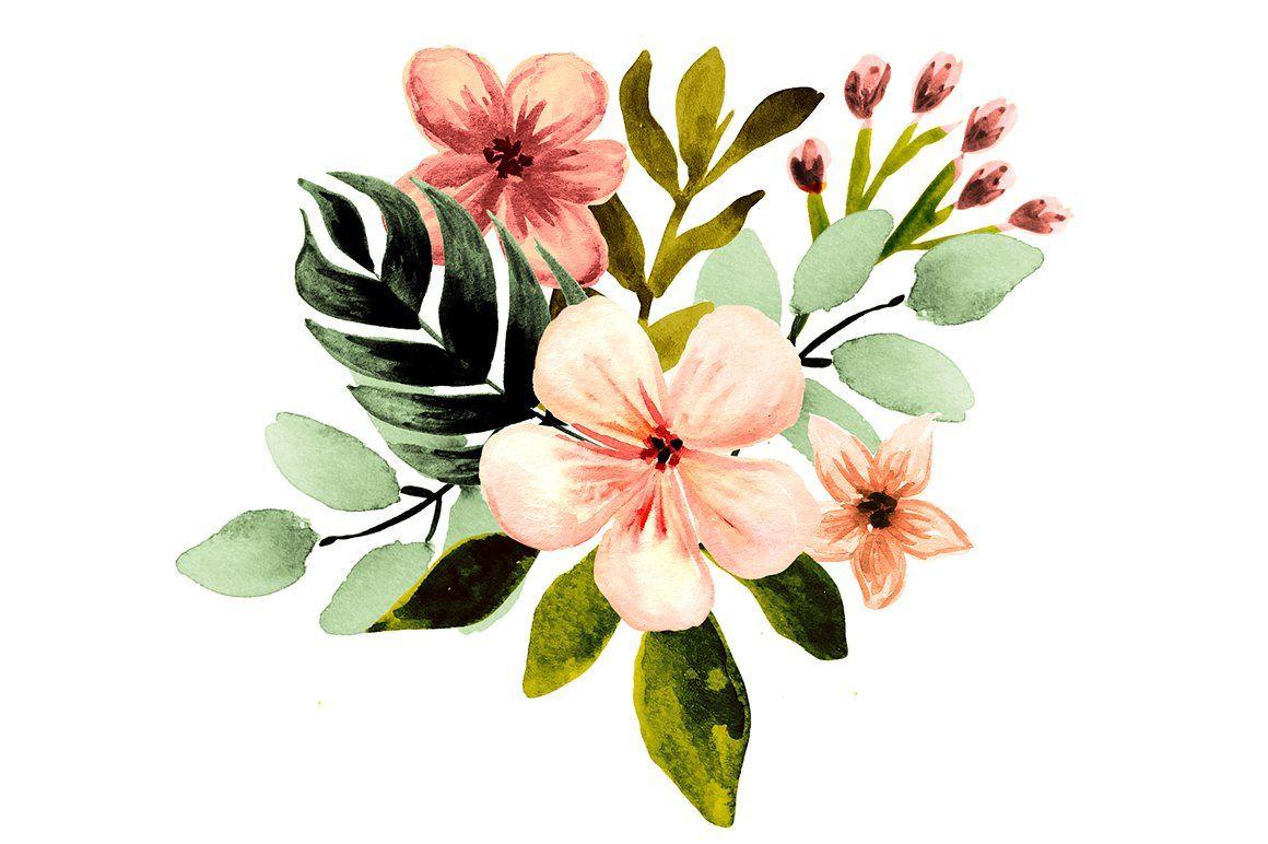 Tropical Florals Set Watercolor Clipart Wedding Clipart Summer