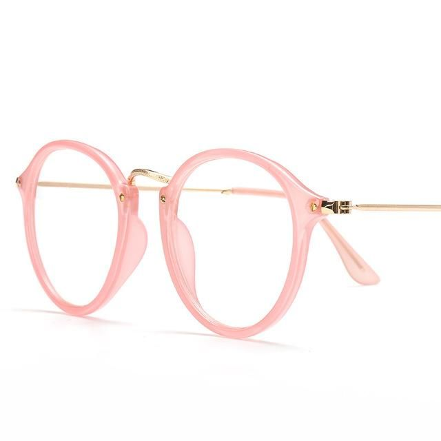 Hot Sale Fake Round Glasses Women Clear Eyeglasses Frame Pink ...