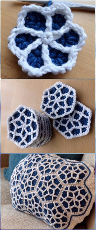 Crochet Moroccan Motif Hexagon Cushion Free Pattern - Crochet ...