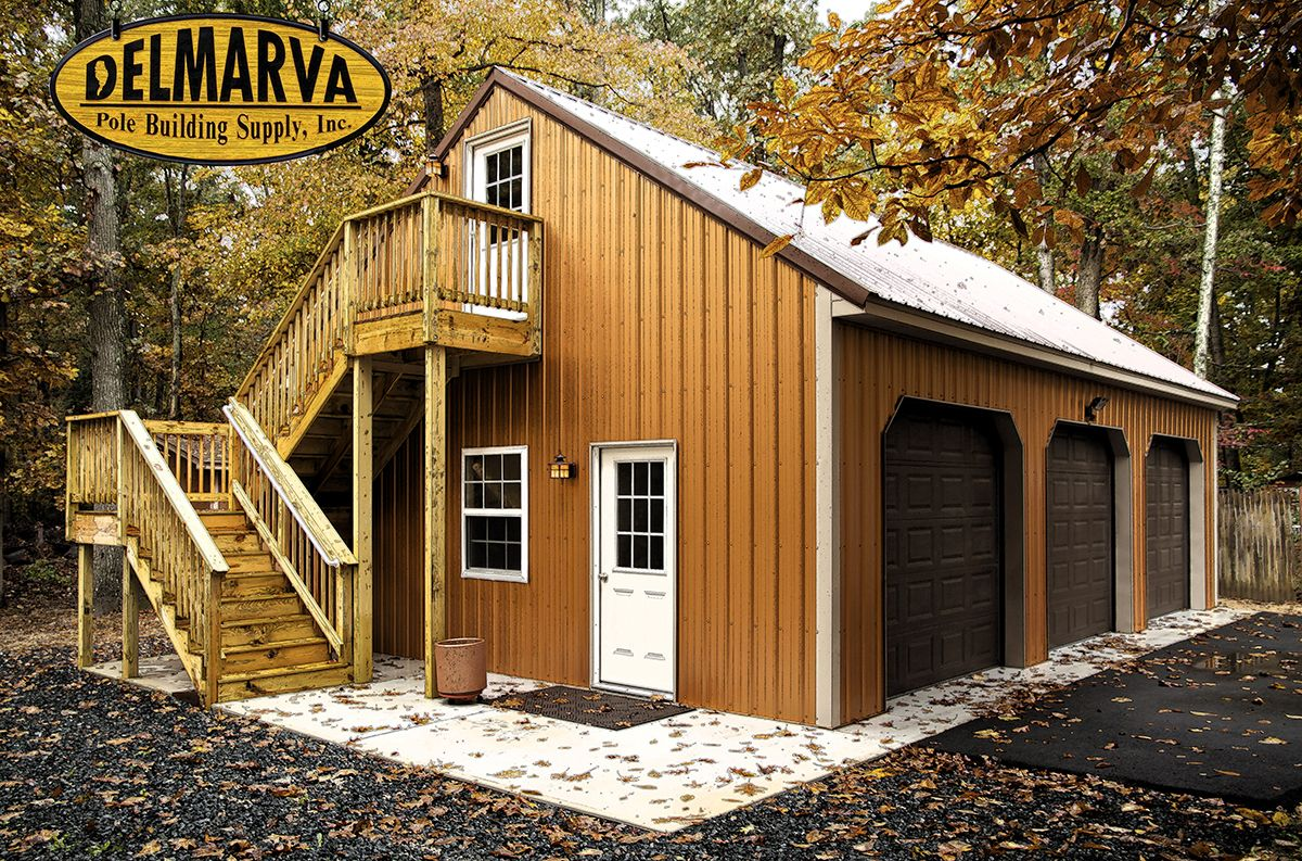 24x36x10 3 car garage and loft pole building for Pole barn garage designs