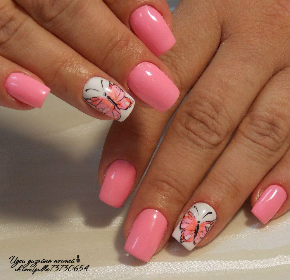 Nail Art 854 Best Nail Art Designs Gallery Bestartnails Com Pink Manicure Butterfly Nail Art Finger Nail Art