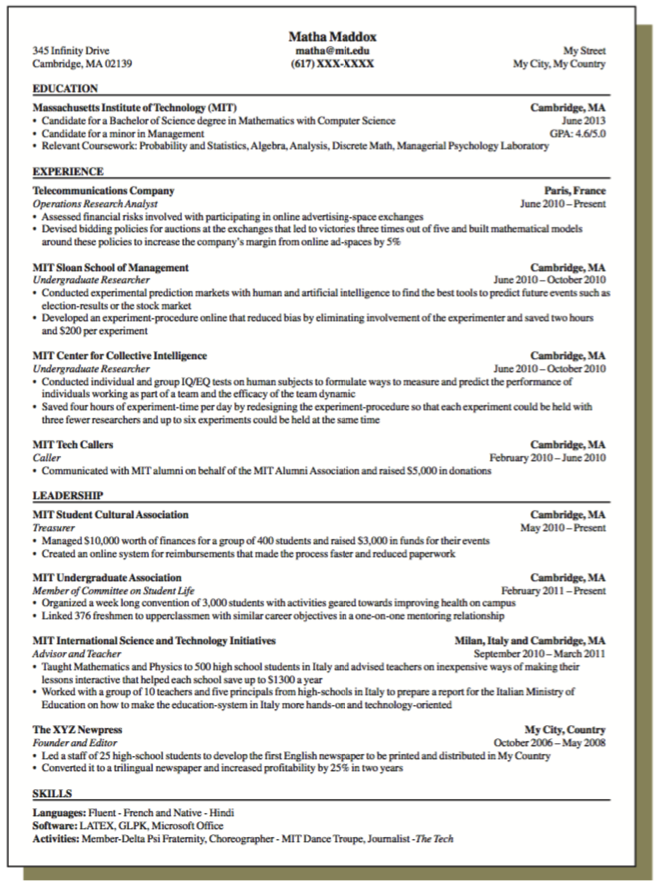 Sample Resume For Operations Research Analyst