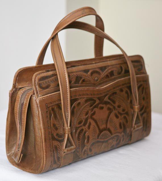 Vintage Avelar Mexico Tooled Leather Handbag  ebdeefb692044