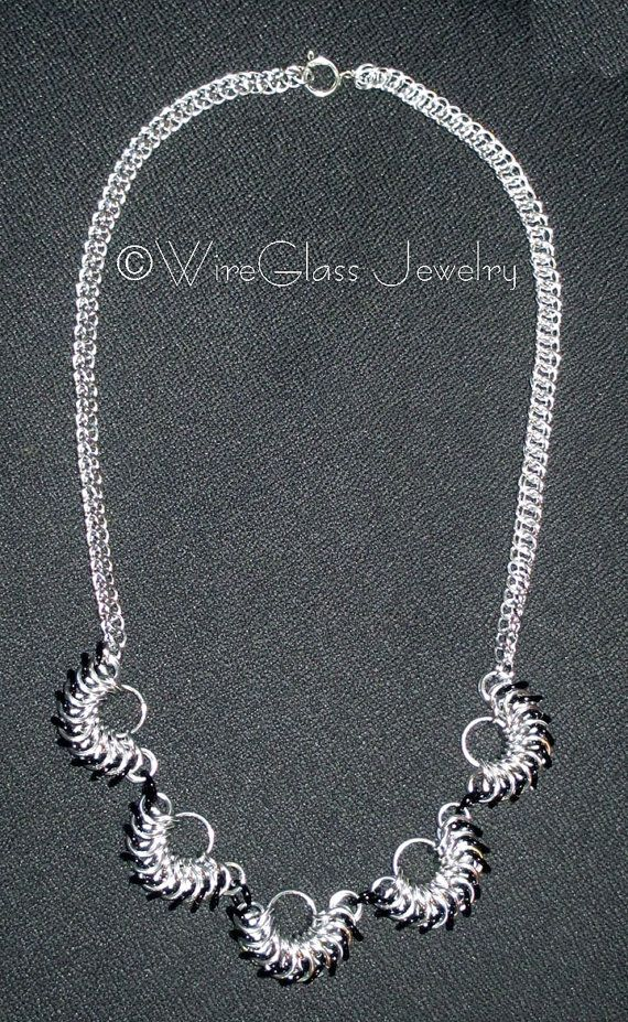 Silver & Black Chainmaille Necklace by WireGlass on Etsy