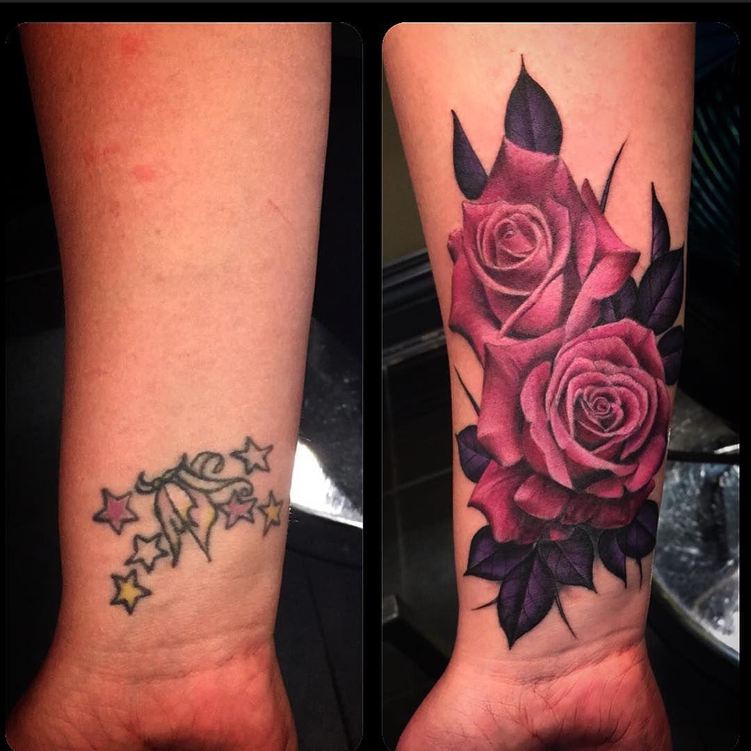 Sentimental Roses Wrist Tattoo Cover Up Purple Rose Tattoos Cover Tattoo