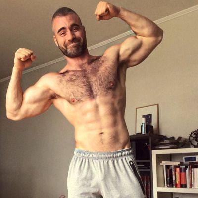 Hairy bodybuilders jerk off 13