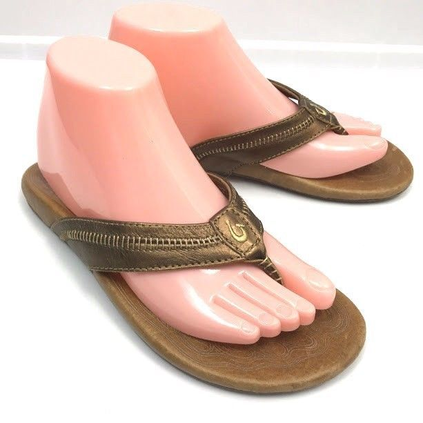 dd470bbc74d365 OluKai Womens Flip Flop Sandals Haiku Leather Size 7   37.5 Bronze Gold  Metallic  OluKai  FlipFlops  Casual