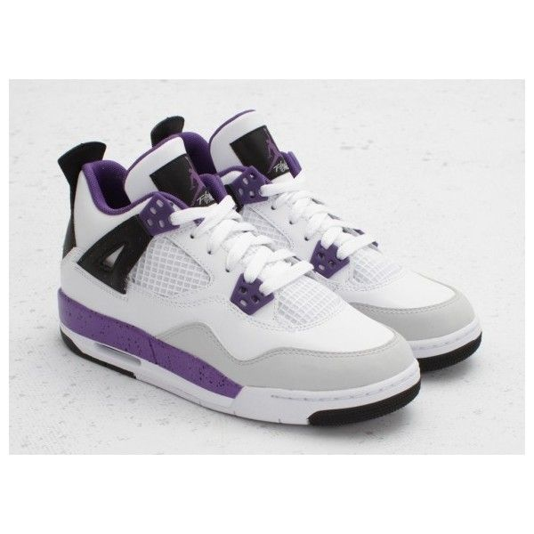 Air Jordan Retro IV (4) Girls White Ultraviolet Neutral Grey ❤ liked on  Polyvore
