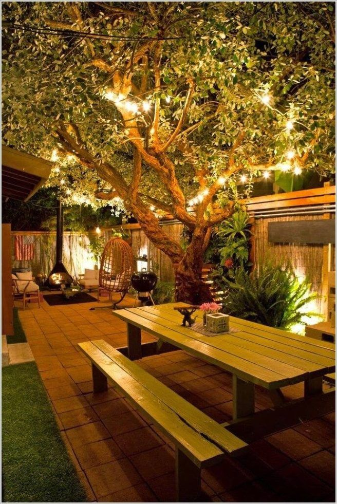 Backyard Cafe ideas para iluminar el jardín | outdoor spaces | pinterest