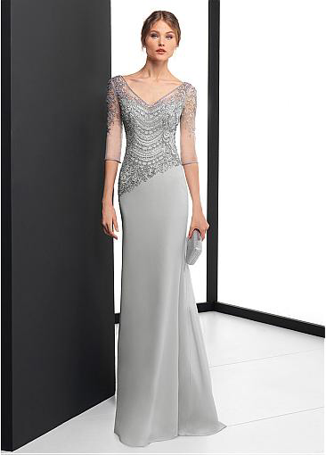 [167.00] Delicate Chiffon V-neck Neckline 3/4 Length Sleeves Sheath / Column Evening Dress With Beaded Embroidery - magbridal.com.cn