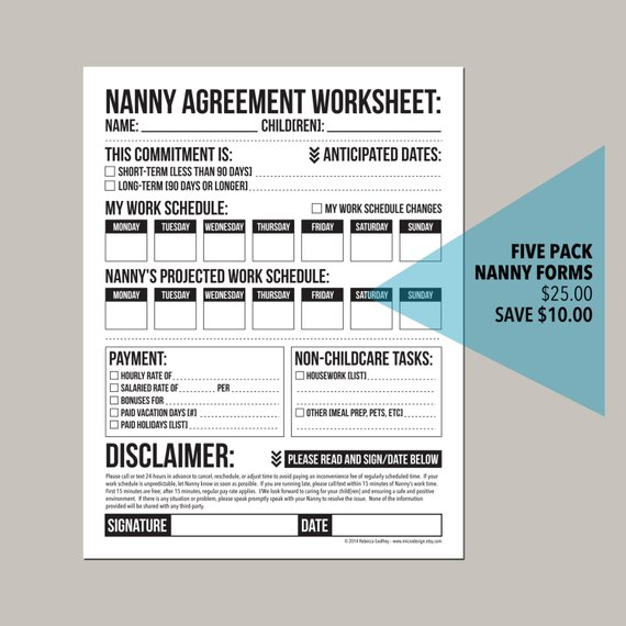 the nanny pack set of five forms for childcare workers or nannies - nanny agreement contract