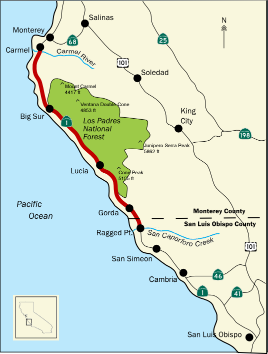 Bigsurmap3 Big Sur Wikipedia The Free Encyclopedia Road Trip