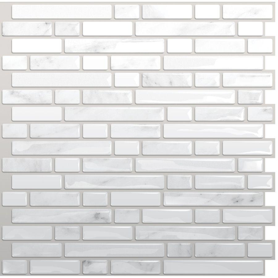 - Shop Smart Tiles White, Silver Composite Vinyl Mosaic Subway Peel