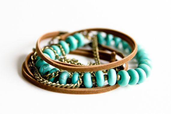 Boho Mixed Media Wrap Bracelet / Long Necklace; Suede Leather; Brass Chain; Turquoise Magnesite Gemstone & Brass Beads; Bohemian Jewelry by NUBE Handmade Jewelry on Etsy