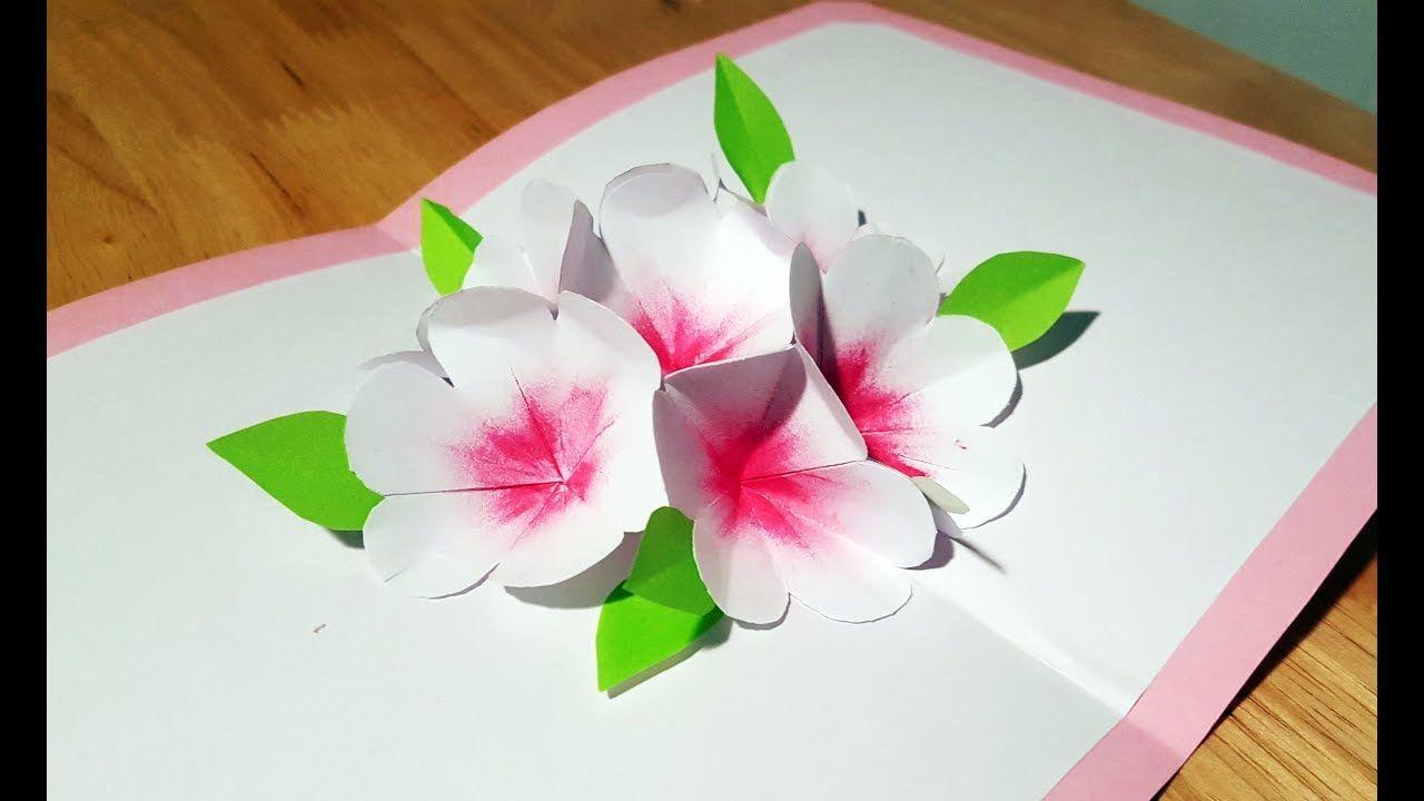 2018 Diy 3d Cherry Blossom Flower Pop Up Card Women Day Card