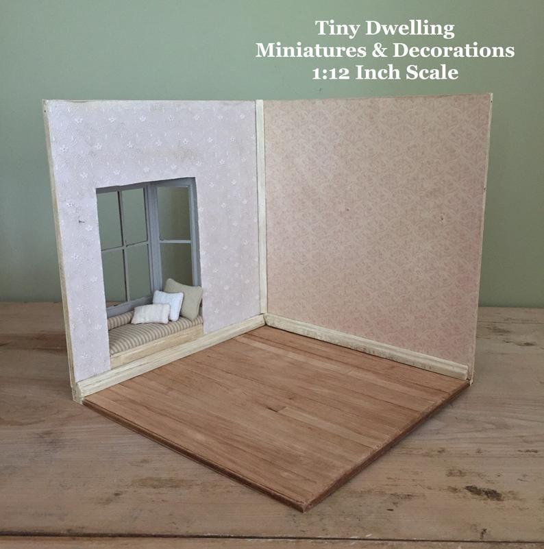 Unfinished Room Box, Miniature Room Box, Dollhouse Room Box, Mini Room Box, DIY Room Box