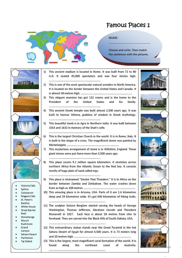 Famous Places Worksheet Free Esl Printable Worksheets Made By Teachers Famous Places World Famous Places Speaking Activities