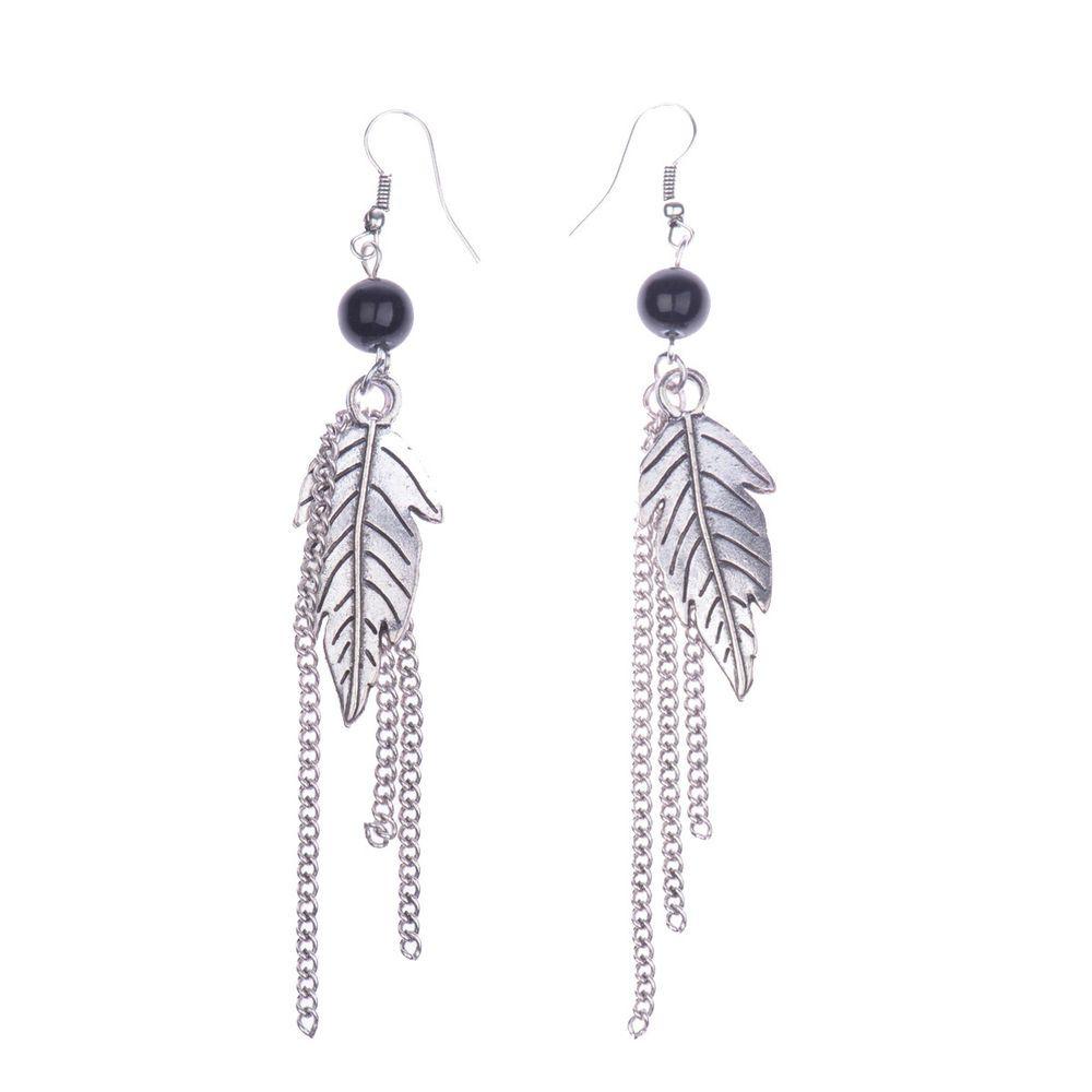 New Women's Vintage Silver Bohemian Boho Style Alloy Leaf&Tassel Dangle Earrings #Handmade #DropDangle