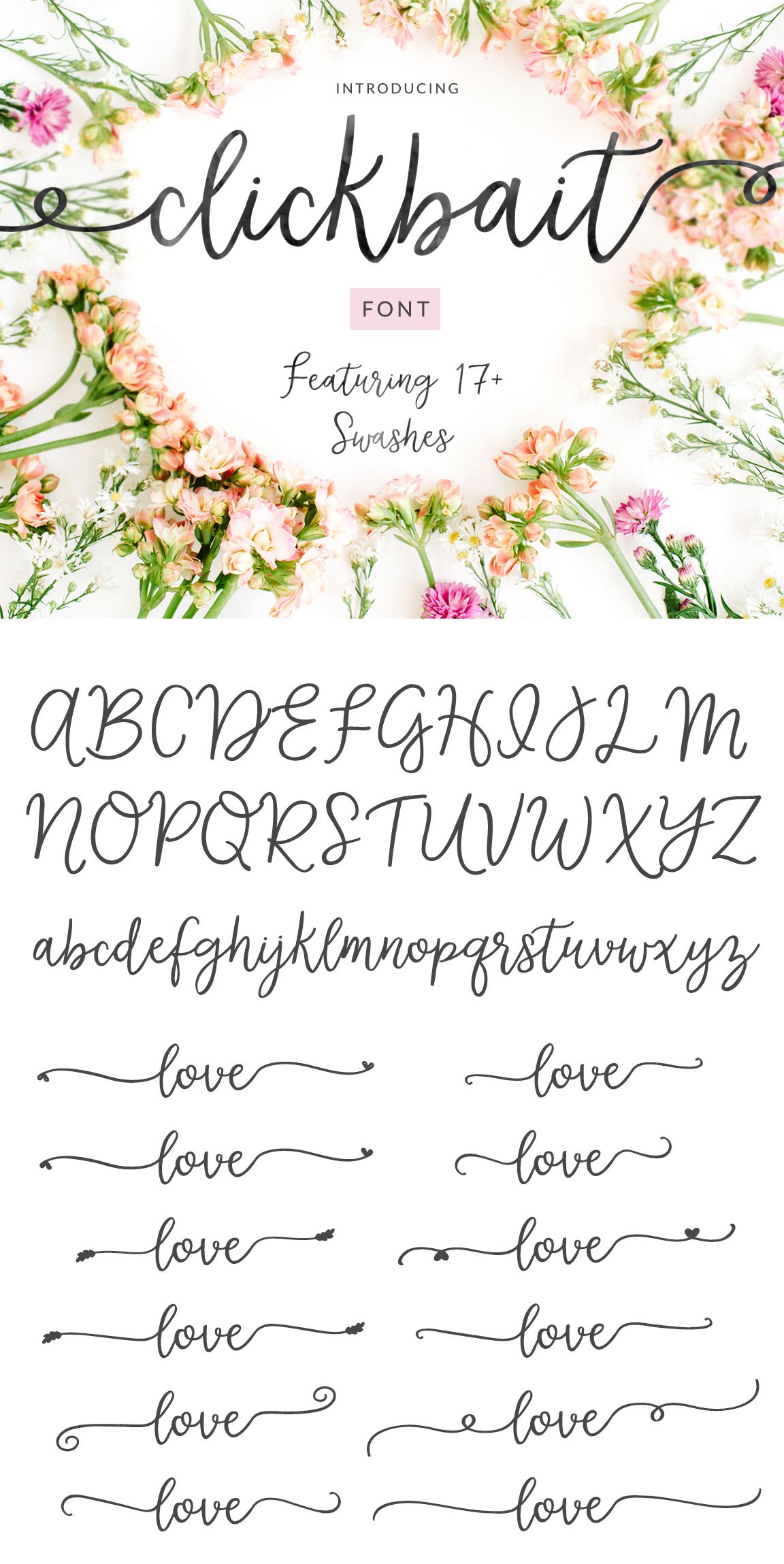 Clickbait Cute Swash Calligraphy Font Full Version Calligraphy