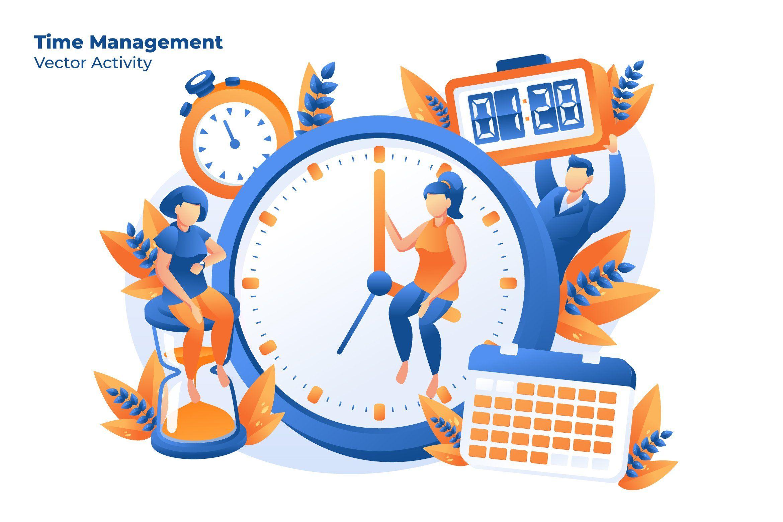 Time Management Vector Illustration Ilustrasi Flat Ilustrasi Ilustrasi Karakter