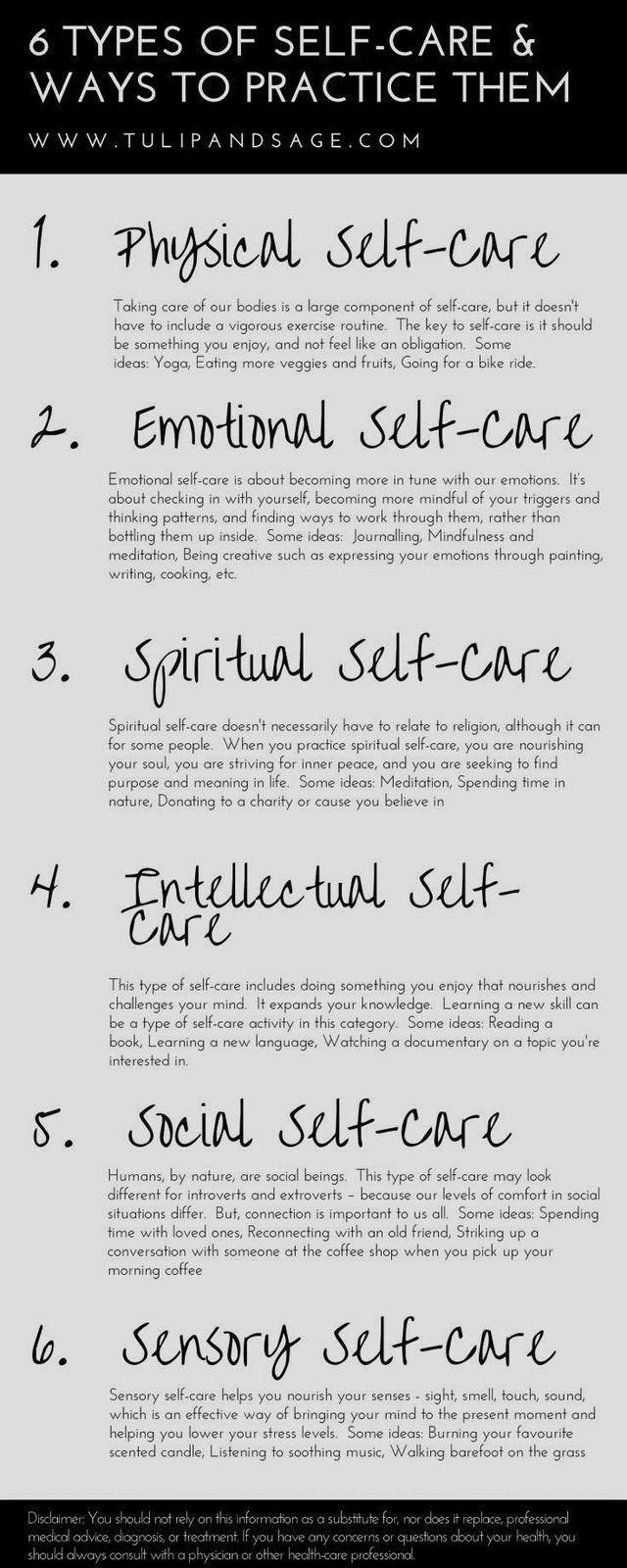 6 tipi di cura di sé – Nuove idee