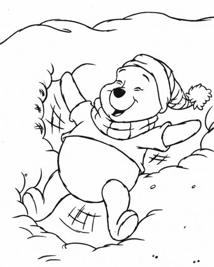 Disney Winter Coloring Pages Pooh In The Snow Coloring Page