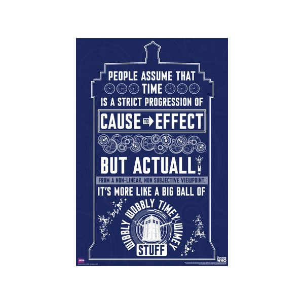 Doctor Who   Wibbly Wobbly Quote Poster ($7.99) ❤ Liked On Polyvore  Featuring Home