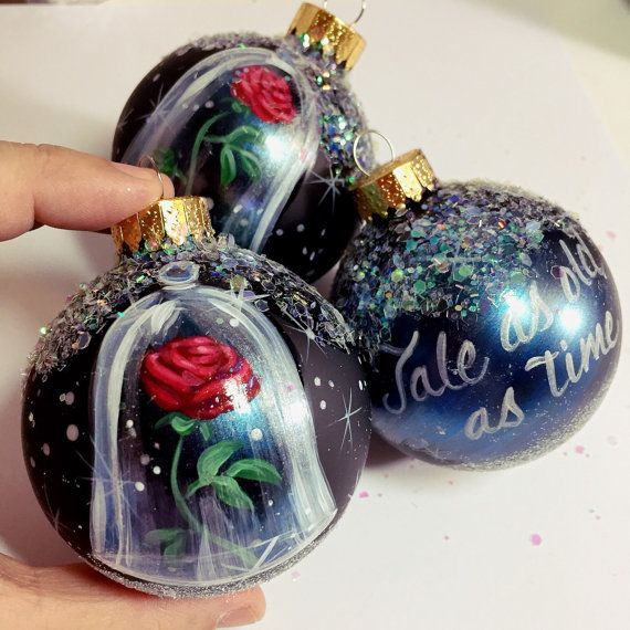 Beauty And The Beast Rose Ornament Christmas Hand Painted Gl Ball
