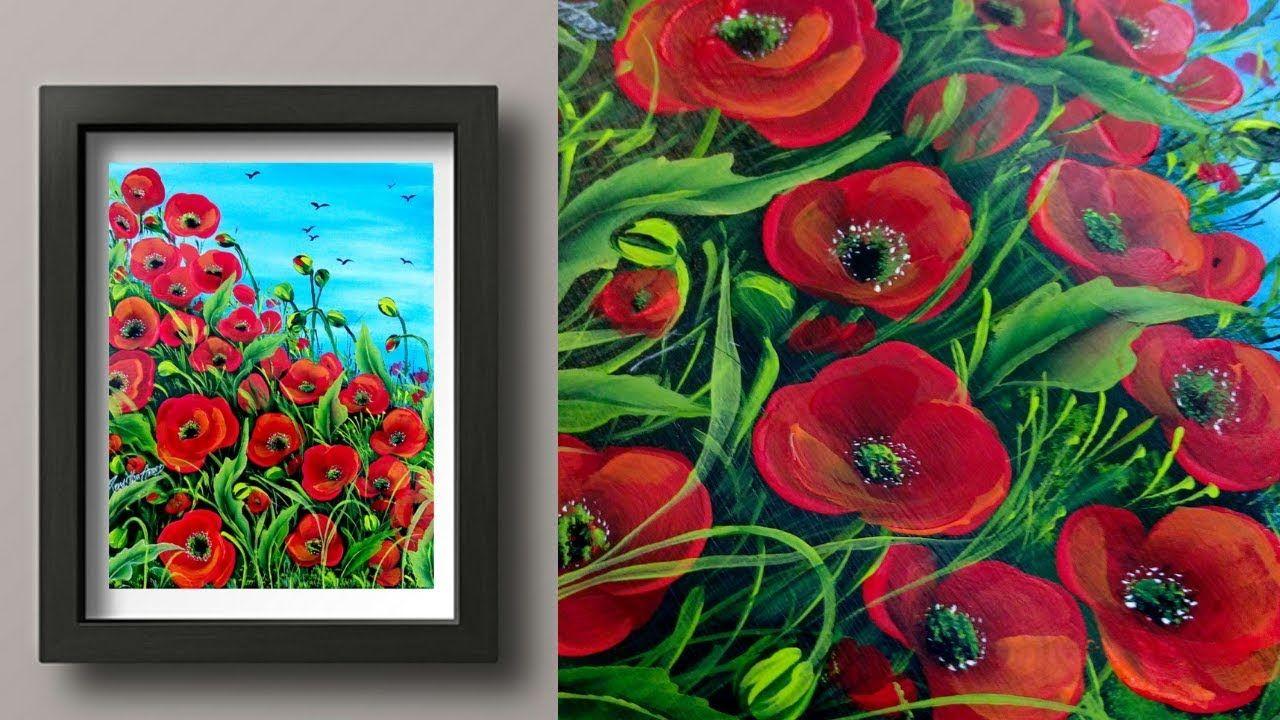 Easy Acrylic Painting Poppy Field Canvas Painting Fun Painting Beginners Painting Y Poppy Flower Painting Simple Acrylic Paintings Poppy Field Painting