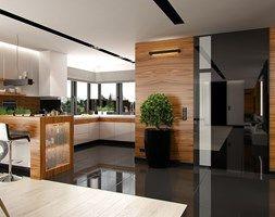 Aranzacje Wnetrz Salon Dom W Stylu Glamour Duzy Salon Z Kuchnia