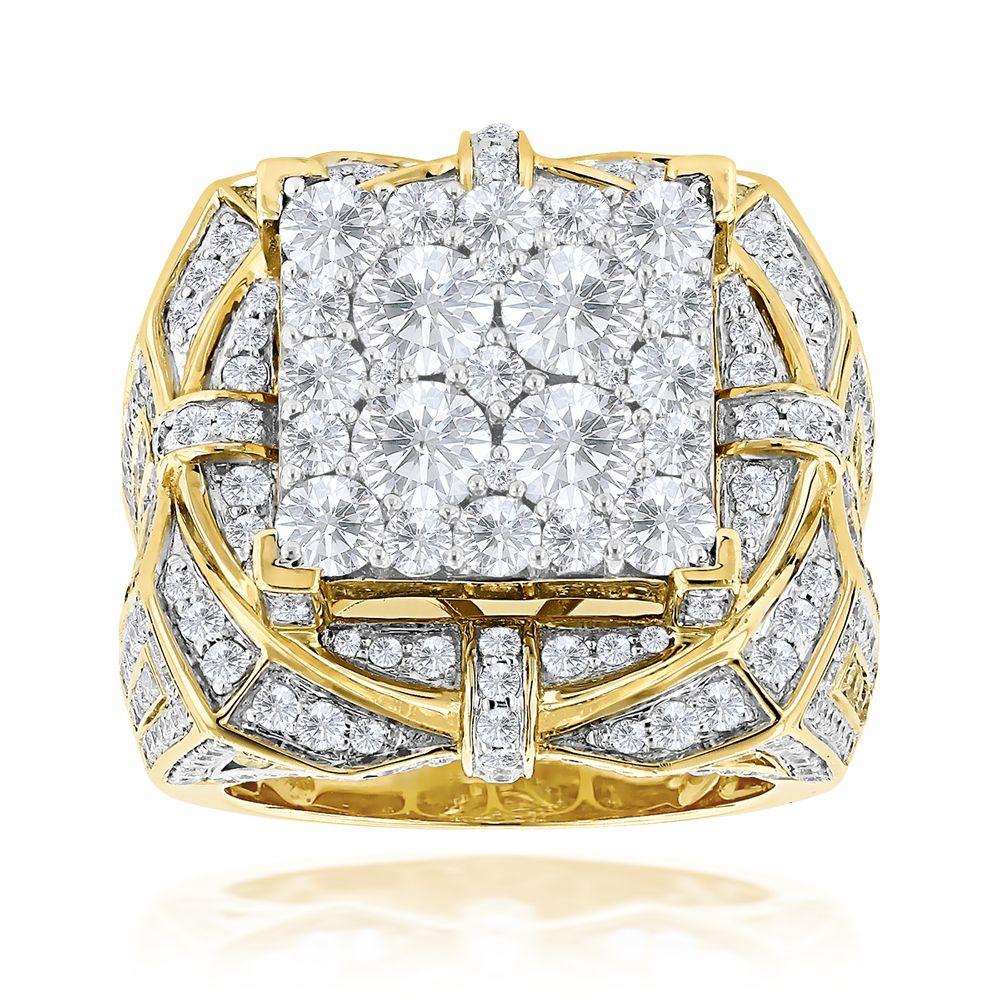 34 Grams Unique Diamond Set: Hip Hop Rings: Unique Mens Diamond Ring 10ct 14K Gold