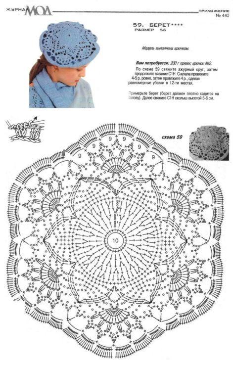 Береты вязаные: 24 модели крючком со схемами, описанием и ...