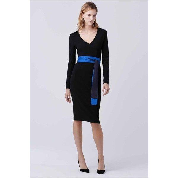 Diane von Furstenberg Milena Sheath Dress (735 BGN) ❤ liked on Polyvore featuring dresses, black, midi, diane von furstenberg dress, v-neck dresses, midi dress, zip dress and v neck sheath dress