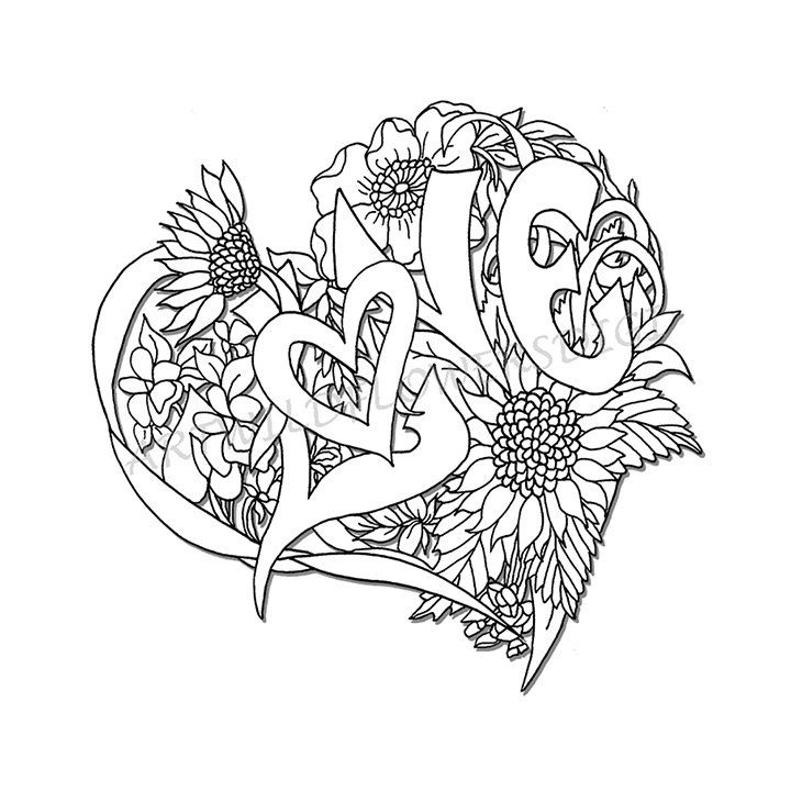 Wedding Shower Adult Coloring Page Love Heart Digital Wildflower ...