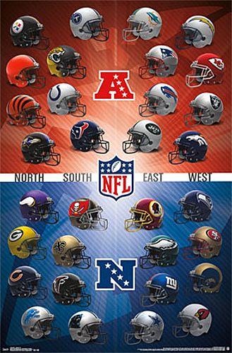 Nfl Football Helmets Official Wall Poster All 32 Team Logos