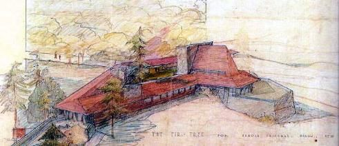 Arnold Friedman residence/ Fir Tree House. Pecos, New Mexico. 1948. Frank Lloyd Wright.