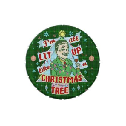 Funny Christmas Retro Drinking Humor Man Lit Up Jelly Belly Candy