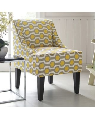 Incroyable Grey And Yellow Accent Chair