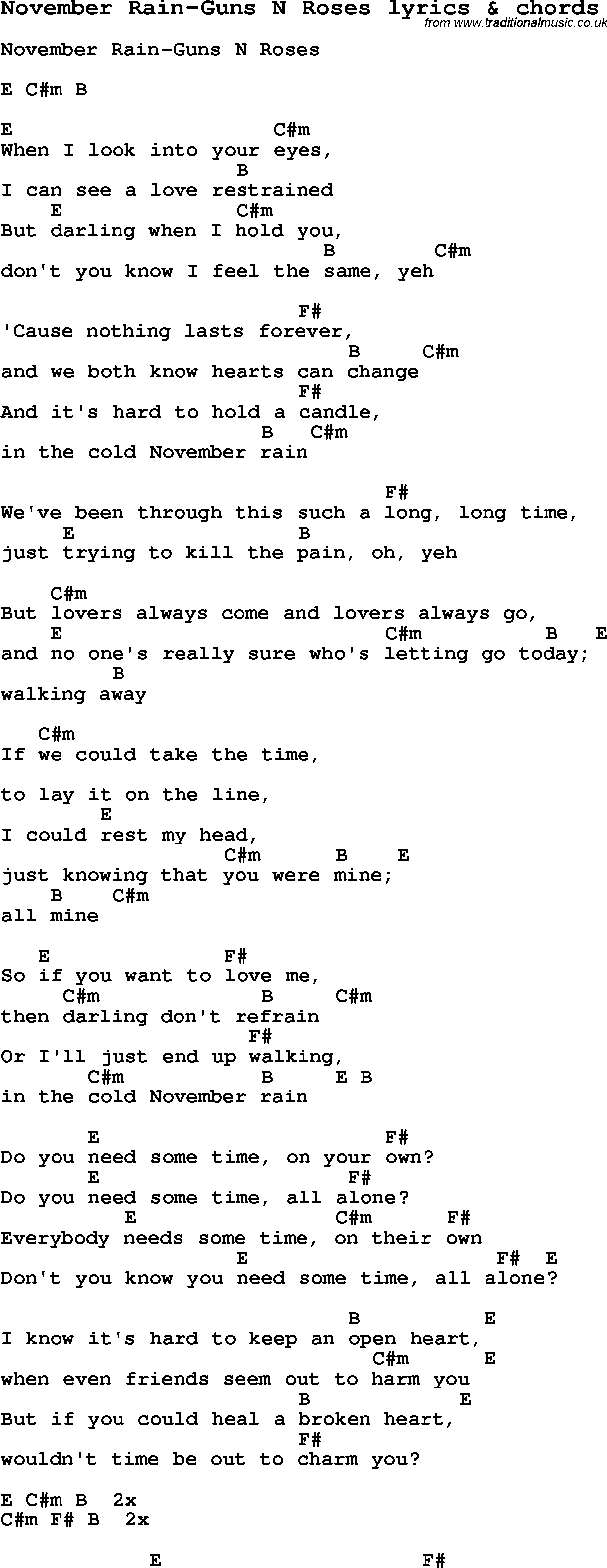 Love song lyrics for november rain guns n roses with chords for love song lyrics for november rain guns n roses with chords for ukulele hexwebz Images