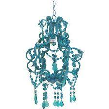 Chic Beaded Crystal Teal Blue Chandelier Girls Room