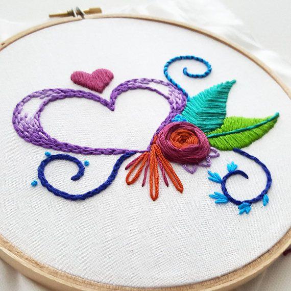 Hand Embroidery KIT: Heart Sampler, Beginner Needlepoint Design ...