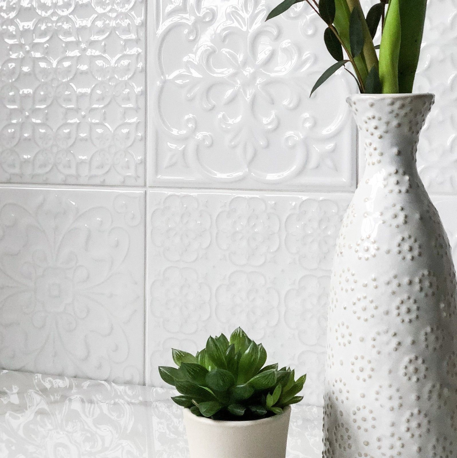 Details About Marazzi White Gloss Victorian Patchwork With Raised