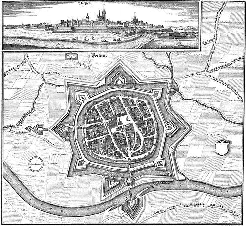 Map Of Dorsten Germany 1633 Matthias Marian Map Diagram Map