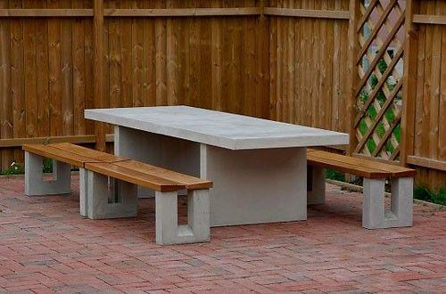 Concrete Table Concrete Wood Benches Mesas Exteriores